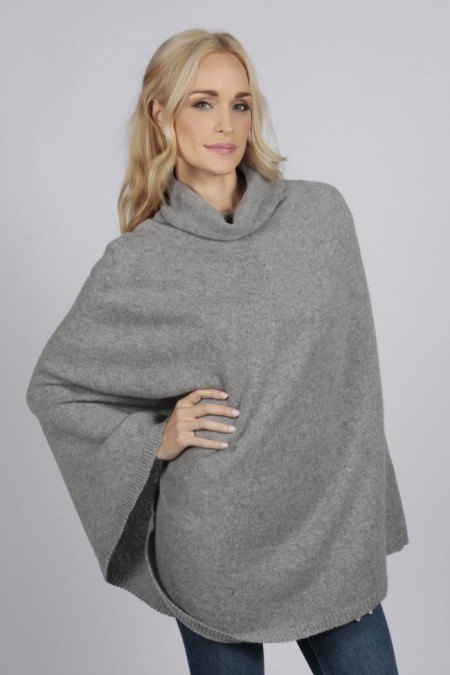 Light Grey pure cashmere roll neck poncho cape front