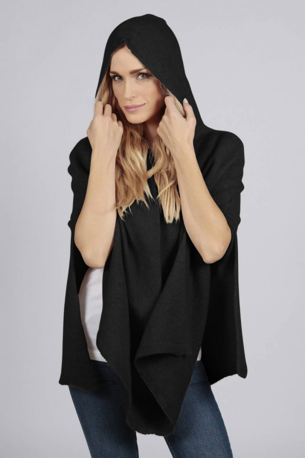 Black pure cashmere hooded poncho cape