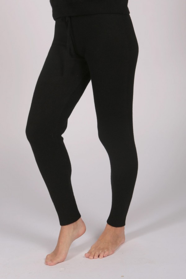 Women's Pure Cashmere Joggers Pants in Black 1