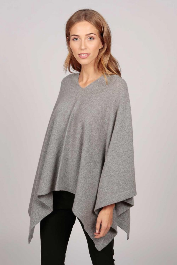 Cashmere boat neck poncho light grey