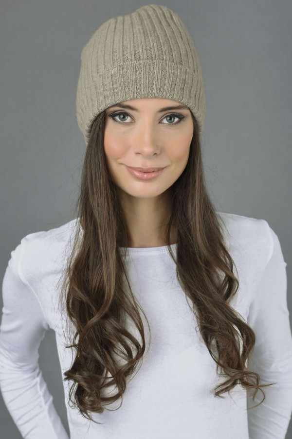 Pure Cashmere Fisherman Ribbed Beanie Hat in Camel Brown 2