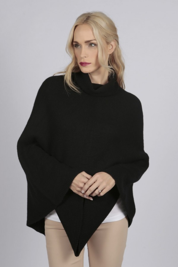 Black pure cashmere roll neck poncho cape front