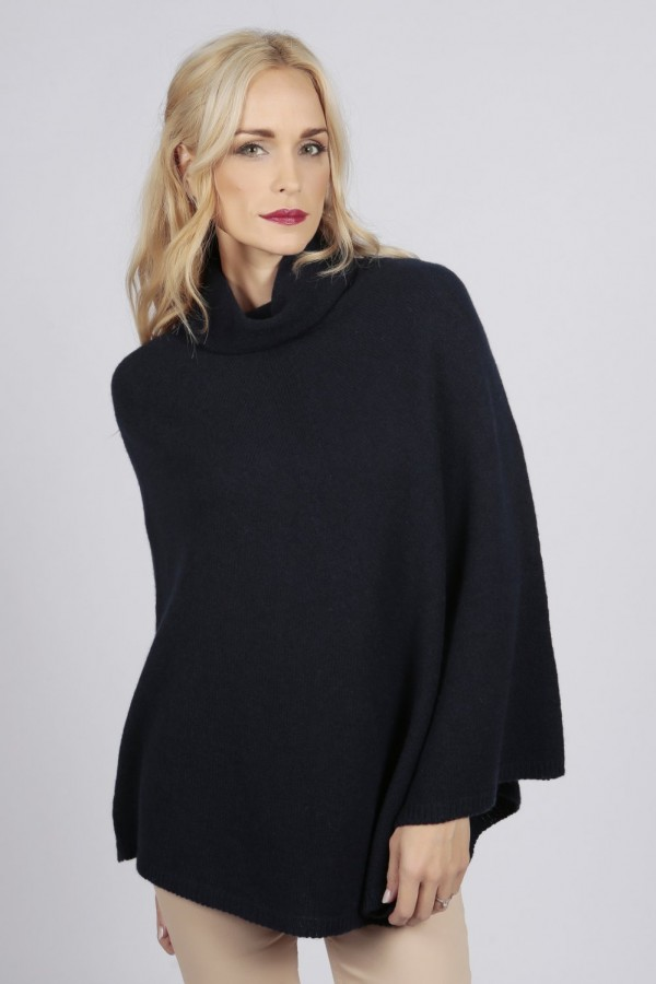 Navy Blue pure cashmere roll neck poncho cape front