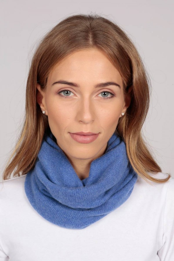 Cashmere snood in periwinkle blue