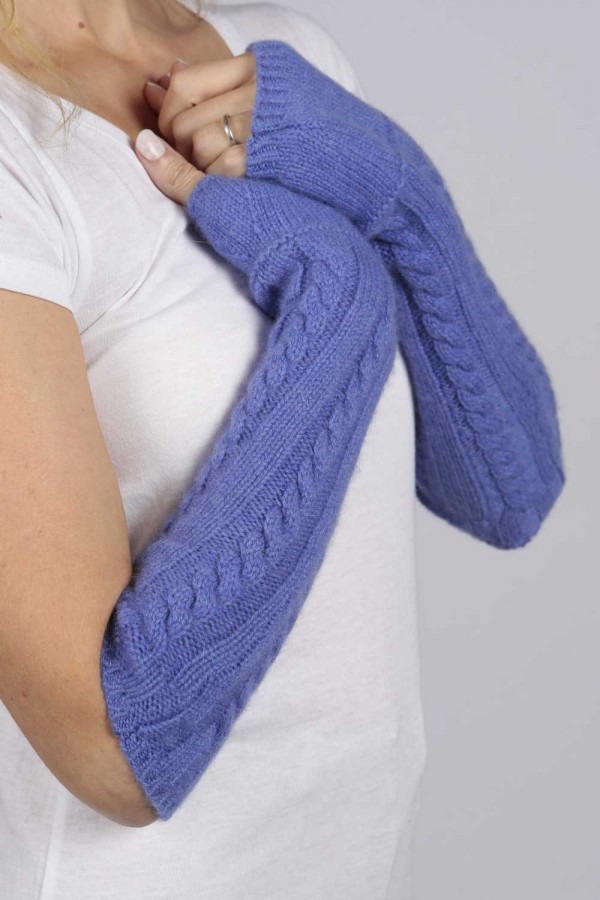 Periwinkle blue pure cashmere cable knit wrist warmers gloves 1