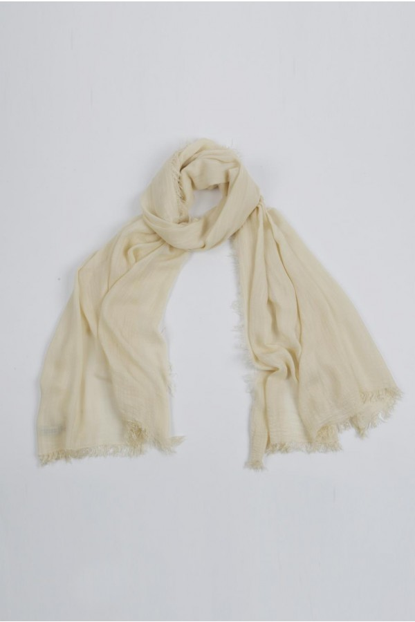 Lightweight Summer Scarf Shawl Wrap 100% Bamboo colour Custard White 01