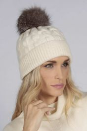 Cream White pure cashmere fur pom pom cable knit beanie hat