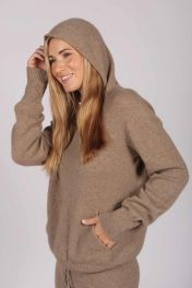 Camel Brown 100% Cashmere Hoodie for Women