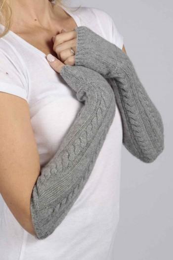 Light Grey pure cashmere cable knit wrist warmers gloves