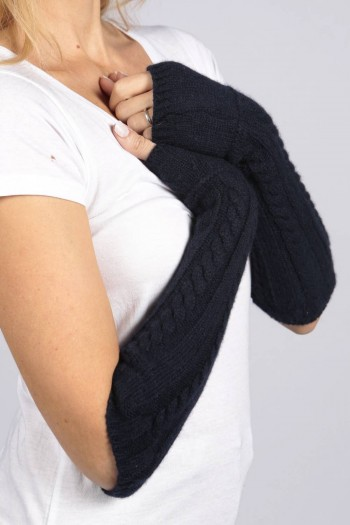Navy Blue pure cashmere cable knit wrist warmers gloves