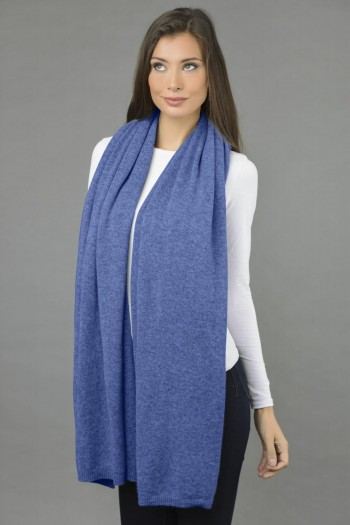 Pure Cashmere Wrap in Periwinkle Blue