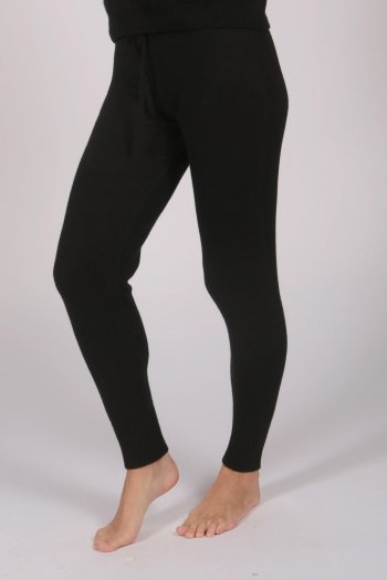 Women's Pure Cashmere Joggers Pants in Black