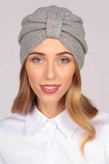 Cashmere Turban in Light Grey