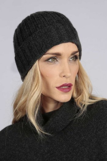 Charcoal grey pure cashmere wide ribbed fisherman beanie hat