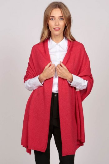 Pure Cashmere Wrap in Coral Red
