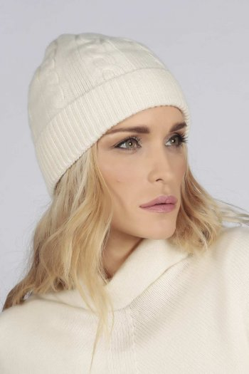Cream white pure cashmere beanie hat cable and rib knit