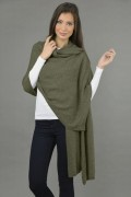 Knitted Pure Cashmere Wrap in Army Green 1