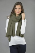Knitted Pure Cashmere Wrap in Army Green 4