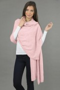 Knitted Pure Cashmere Wrap in Baby Pink 2