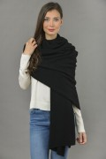Knitted Pure Cashmere Wrap in Black 4