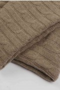 Luxury Pure Cashmere Cable Knit Blanket Throw Camel Brown detail