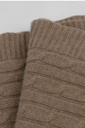 Luxury Pure Cashmere Cable Knit Blanket Throw Camel Brown close up 2