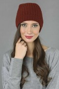 Pure Cashmere Fisherman Ribbed Beanie Hat in Bordeaux 1