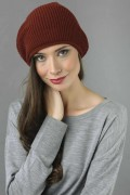 Pure Cashmere Ribbed Knitted Slouchy Beanie Hat in Bordeaux 1