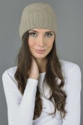 Pure Cashmere Plain and Ribbed Knitted Beanie Hat in Camel Brown 2