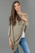Pure Cashmere Knitted Asymmetric Poncho Wrap in Camel Brown 2