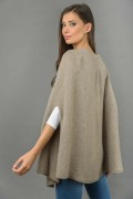 Pure Cashmere Plain Knitted Poncho Cape in Camel Brown 4