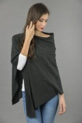 Pure Cashmere Knitted Asymmetric Poncho Wrap in Charcoal Grey 3