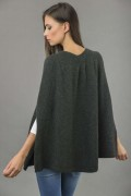 Pure Cashmere Plain Knitted Poncho Cape in Charcoal Grey 4
