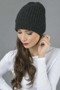 Pure Cashmere Fisherman Ribbed Beanie Hat in Charcoal Grey 3