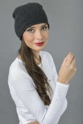 Pure Cashmere Plain Knitted Slouch Beanie Hat in Charcoal Grey 3