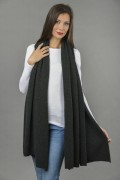 Knitted Pure Cashmere Wrap in Charcoal Grey 2