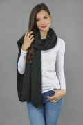 Knitted Pure Cashmere Wrap in Charcoal Grey 1