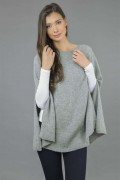 Pure Cashmere Plain Knitted Poncho Cape in Light Grey 2