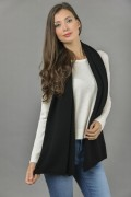 Pure Cashmere Plain Knitted Small Stole Wrap in Black 1