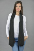 Pure Cashmere Plain Knitted Small Stole Wrap in Charcoal Grey 3