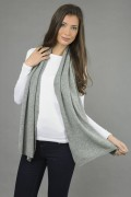 Pure Cashmere Plain Knitted Small Stole Wrap in Light Grey 2