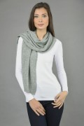 Pure Cashmere Plain Knitted Small Stole Wrap in Light Grey 1