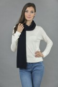 Pure Cashmere Plain Knitted Small Stole Wrap in Navy Blue 4