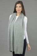 Knitted Pure Cashmere Wrap in Light Grey 4