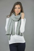Knitted Pure Cashmere Wrap in Light Grey 1
