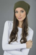 Pure Cashmere Ribbed Knitted Slouch Beanie Hat in Loden Green 2