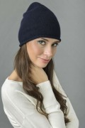 Pure Cashmere Plain Knitted Beanie Hat in Navy Blue 1