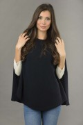 Pure Cashmere Plain Knitted Poncho Cape in Navy Blue 1