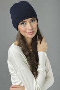 Pure Cashmere Plain Knitted Slouchy Beanie Hat in Navy Blue 1