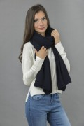 Knitted Pure Cashmere Wrap in Navy Blue 1